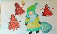 Christmas Gift for kids ORIGINAL WATERCOLOUR Funny Santa original ART FREE P&P