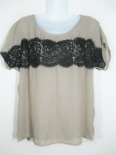 Jeanswest Women's Size 10-12 Top, Brown beige black lace sheer blouse loose A3