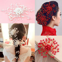Wedding Bridal Pearl Combs Flower Crystal Hair Pins Clips Bridesmaid Handcraft