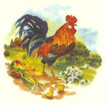 "6 Rooster Chicken Farm Animal 2"" Waterslide Ceramic Decals Tx"