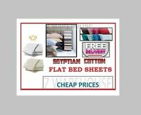 100% Egyptian Cotton  FLAT  BED SHEETS in Single Double King Super King Bed Size