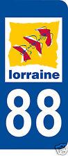 1 Sticker plaque immatriculation AUTO adhésif département 88