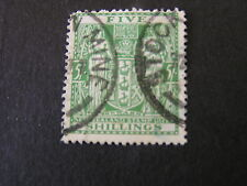 *NEW ZEALAND, SCOTT # AR-50 5/- VALUE 1931-39 ISSUE POSTAL-FISCAL USED