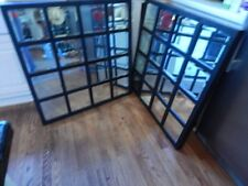 "Matched Pair of Square Decorative Beveled Mirrors Black Modern Frame 36"" x 36"""