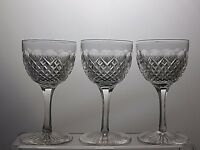 """GORGEOUS CLEAR CUT GLASS LEAD CRYSTAL WINE GLASSES SET OF 3 -Tall 4 3/4"""""""