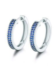 WHITE GOLD FINISHED BLUE SAPPHIRE ROUND LADIES CHIQUE HOOP EARRINGS GIFT BOXED