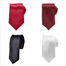 """TopTie Mens Skinny 2"""" Wide Neck Tie 57"""" Classic Self Tie Necktie 6 Solid Colors"""
