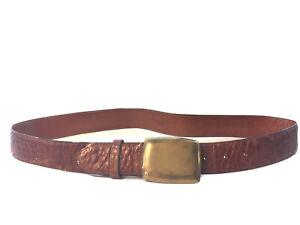 ZELE Brown Alligator Crocodile Leather Belt Solid Brass Buckle Size L Embossed?