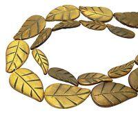 😏 Gebranntes Horn Blätter Perlen Strang mit Blatt-Gravur 2 Größen horn beads 😉