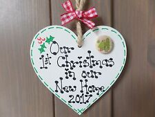 First 1st Christmas In Our New Home Wooden Heart Tree Decoration Gift Tag Plaque