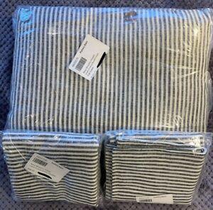 PB Navy Wheaton Striped Linen/Cotton Duvet Cover Full/Queen + 2 Standard Shams