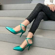 Patent Leather Ladies High Heels Cross Strap Pumps Buckle Casual Party Shoes NEW