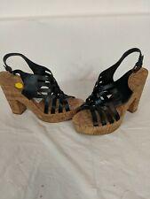 Ralph Lauren Hallie Strappy Platform Heels Sandals Leather Black Size 9B