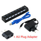 USB 3.0 Hub 4 Ports Super Speed 5Gbps for PC laptop with on/off switch Lot GM