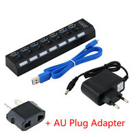 USB 3.0 Hub 4 Ports Super Speed 5Gbps for PC laptop with on/off switch Lot SI
