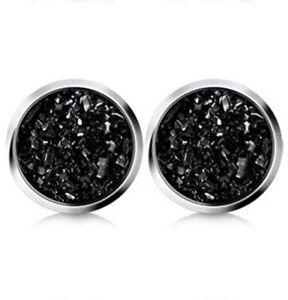 10mm faux Druzy Geode Stud Earrings, Onyx Black Coal Obsidian color, Stainless