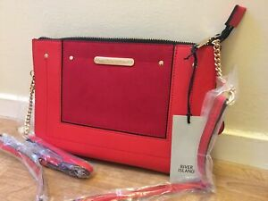 RIVER ISLAND red mix suede panel chain cross body bag new WITH TAGS