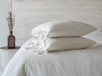 Linen Pillowcase Sham  with Tie Closure Washed Softened European Linen
