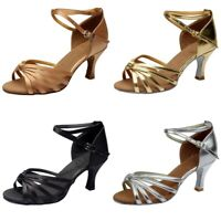 New Women Solid Latin Dance Shoes Med-Heels Satin Shoes Party Tango Dance Shoes