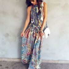Boho Women Holiday Halter Neck Floral Maxi Long Dress Ladies Summer Beach Dress