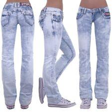 Damen Jeans Hose Hüftjeans Bootcut Gerader Schnitt Straight Leg Low Waist M52