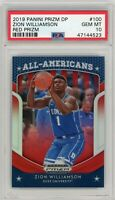 2019 Panini Prizm DP #100 Zion Williamson RED Prizm Rookie PSA GEM MINT 10