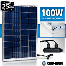 GENSSI® 100W Solar Panel 12V 12 Volt Poly Off Grid Battery Charger RV Boat