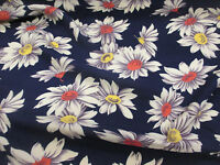 French Navy Daisy, Daisy Flower Floral 100% Viscose Summer Printed Dress Fabric.