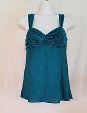 A Byer Womens Top Green Blue Shiny Crinkle Tank Sleeveless Shirt Stretch medium