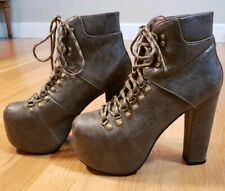 Jeffrey Campbell Everest Platform 6.5 LaceUp Leather Boot Ankle Bootie High Heel