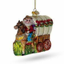 Santa Riding the Coach Glass Christmas Ornament