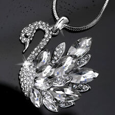 Swan Pendant Necklace Cubic Zirconia new