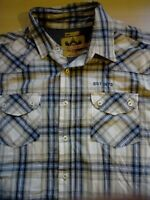 Mens Loose Fit Short Sleeve Check Shirt Large L