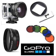 WIDE ANGLE  LENS FOR GOPRO HERO4 HERO3 HERO3+ 5PC HD COLOR FILTER KIT + ADAPTOR