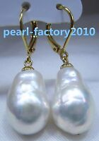 NEW Huge AAA 16X13mm South Sea White Baroque Pearl Earrings 14K YELLOW GOLD