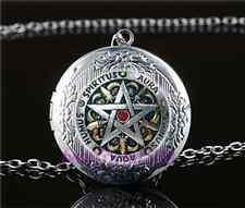 Metal Pentagram Photo Cabochon Glass Tibet Silver Locket Pendant Necklace