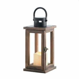 HOME LIGHTING DECOR SMALL LODGE WOODEN CANDLE LANTERN