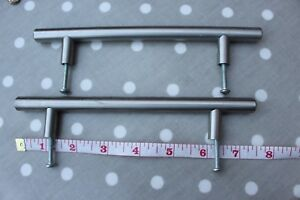 Cupboard handles - steel bar with screws and spacers ( set of 6) -bargain