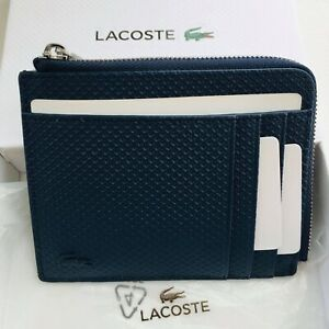Genuine LACOSTE Navy Blue & Brown Tan Leather Zip Around Wallet / New / Boxed