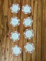 """8 Vintage Handmade Round 6"""" Crochet Doily Doilies White & Red Cup Mat Coaster"""