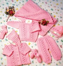 "65 DK BABY BOY GIRL 14-20"" COAT JUMPER BLANKET TREWS ETC SET  KNITTING PATTERN"