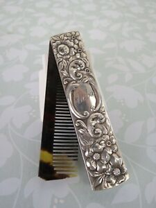 """Antique sterling silver comb Gorham # 255 """" Aloha """" monogrammed floral repousse"""