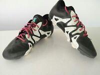 Kids boys Adidas X Techfit black football boots studded trainers UK 4 EU 36.5