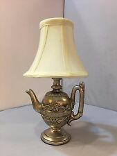"12"" H Mini Teapot Lamp Resin Antique Silver, Desk Bed Side Light Includes Shade"