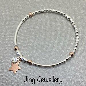 Sterling Silver Beaded Stretch Bracelet Rose Gold Star & Noodle Bracelet 925