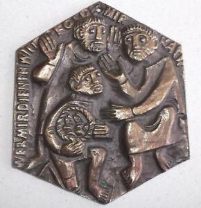 Bronzeplakette, Brotvermehrung Egino Weinert, Bronze, Plaque, Relief ca 15x13cm