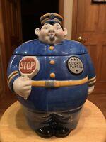 Vintage Clay Art Hand Painted Cookie Patrol Cookie Jar 1994