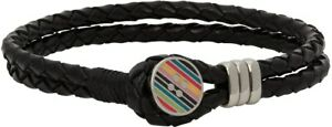 PAUL SMITH Men's multi Stripe Button Black Leather Bracelet in dust gift Bag