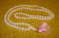 FairTrade Rose Quartz pink round pray 108 beads necklace Malla Buddha meditation