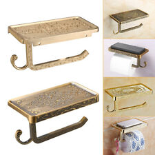 New Bathroom Roll Tissue Rack Brass Toilet Paper Phone Holder with Storage Shelf